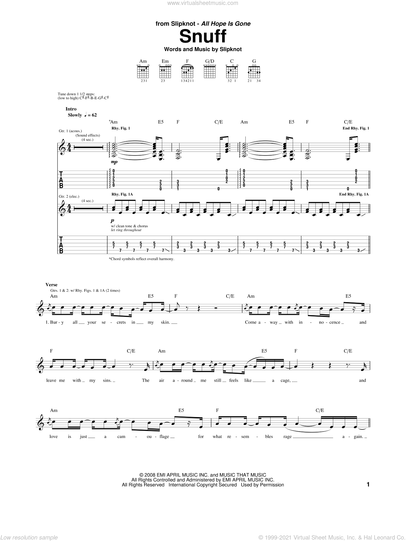 Snuff sheet music for guitar (tablature) by Slipknot. Score Image Preview.