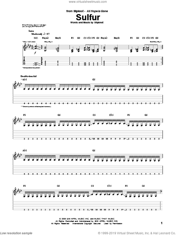 Sulfur sheet music for guitar (tablature) by Slipknot. Score Image Preview.