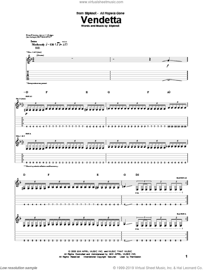 Vendetta sheet music for guitar (tablature) by Slipknot, intermediate. Score Image Preview.
