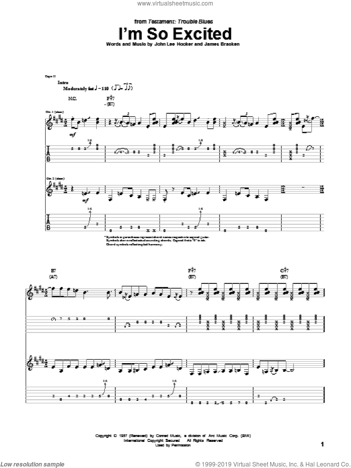 I'm So Excited sheet music for guitar (tablature) by John Lee Hooker and James Bracken, intermediate skill level