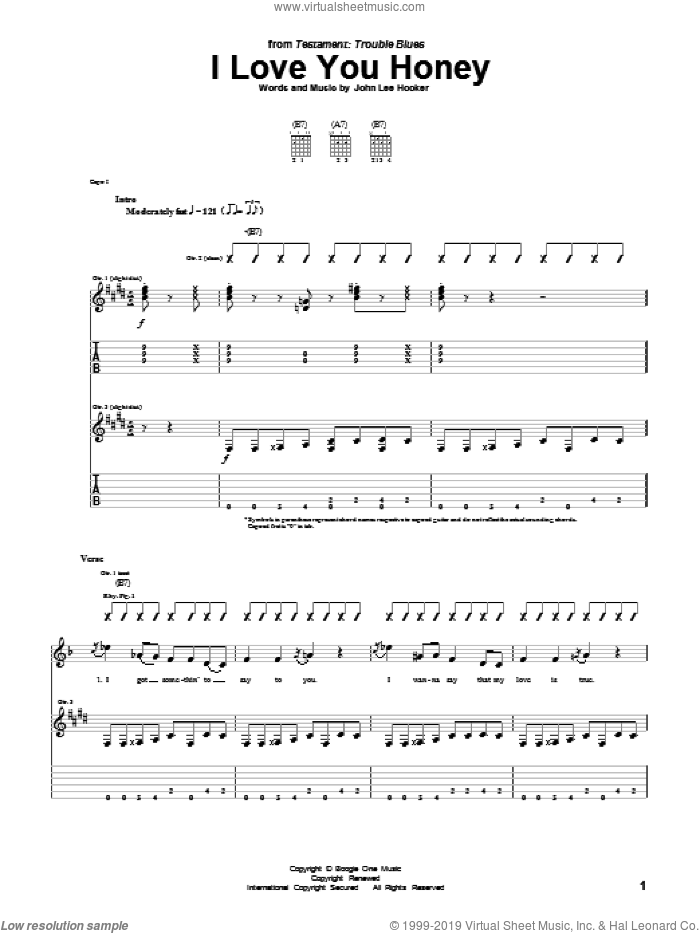 I Love You Honey sheet music for guitar (tablature) by John Lee Hooker, intermediate guitar (tablature). Score Image Preview.