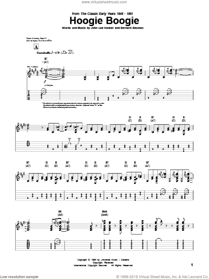 Hoogie Boogie sheet music for guitar (tablature) by John Lee Hooker, intermediate. Score Image Preview.