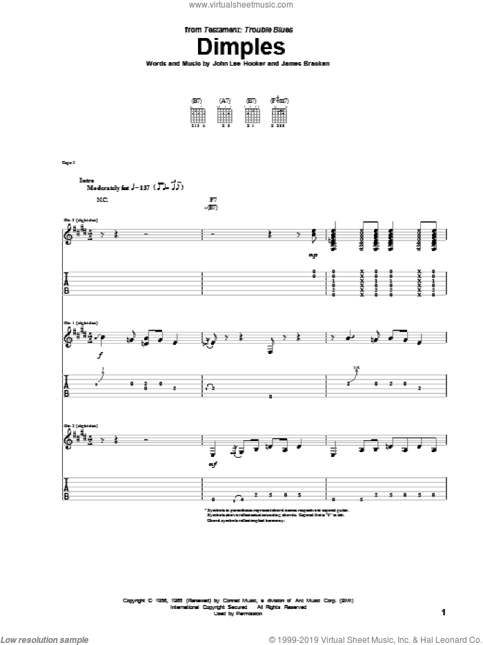 Dimples sheet music for guitar (tablature) by John Lee Hooker and James Bracken, intermediate skill level