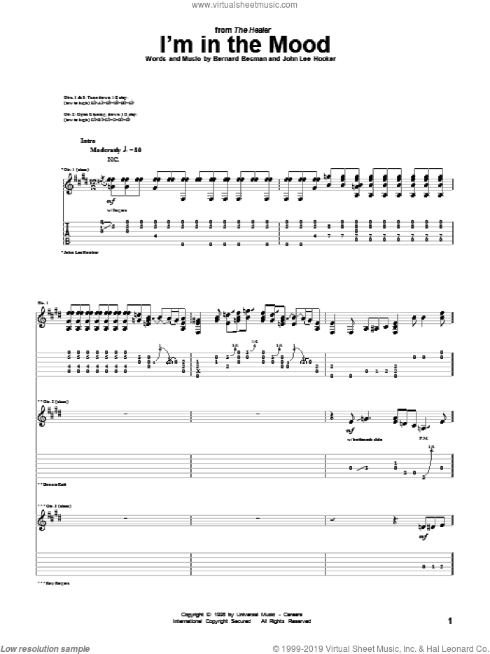 I'm In The Mood sheet music for guitar (tablature) by John Lee Hooker and Bernard Besman, intermediate skill level