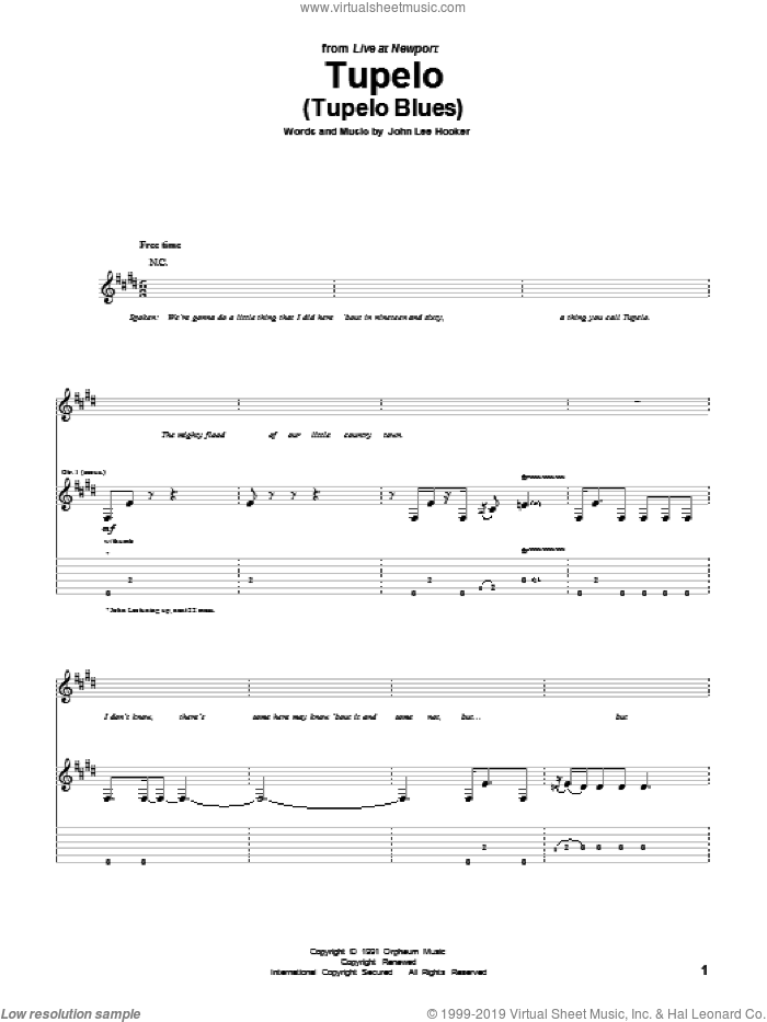 Tupelo (Tupelo Blues) sheet music for guitar (tablature) by John Lee Hooker. Score Image Preview.