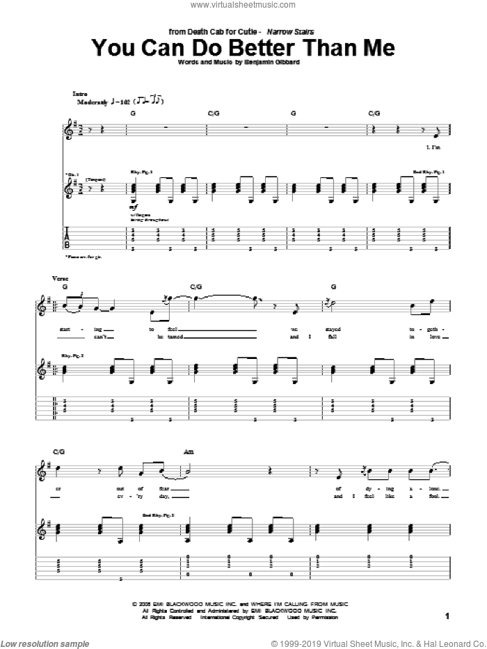 You Can Do Better Than Me sheet music for guitar (tablature) by Death Cab For Cutie and Benjamin Gibbard, intermediate skill level