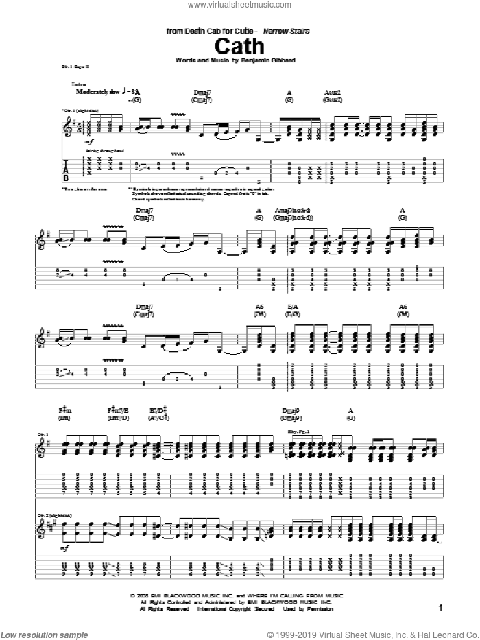 Cath sheet music for guitar (tablature) by Benjamin Gibbard and Death Cab For Cutie. Score Image Preview.