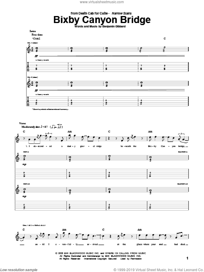 Bixby Canyon Bridge sheet music for guitar (tablature) by Death Cab For Cutie and Benjamin Gibbard, intermediate