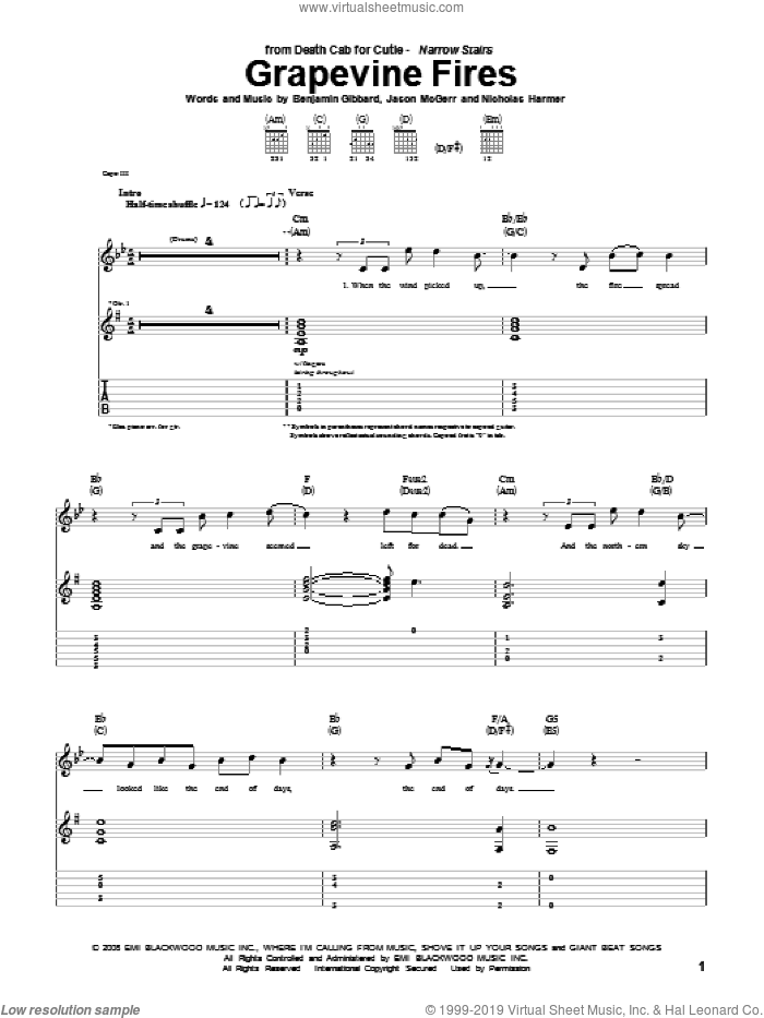 Grapevine Fires sheet music for guitar (tablature) by Nicholas Harmer, Death Cab For Cutie and Benjamin Gibbard. Score Image Preview.