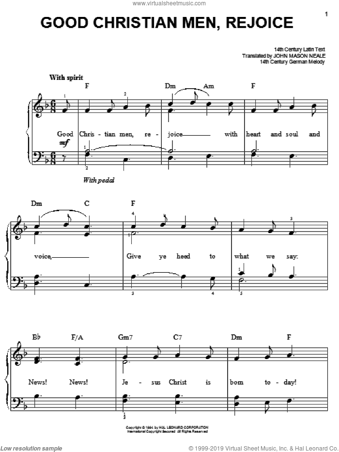 Good Christian Men, Rejoice sheet music for piano solo (chords)