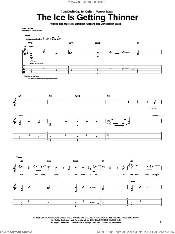 The Ice Is Getting Thinner sheet music for guitar (tablature) by Death Cab For Cutie. Score Image Preview.