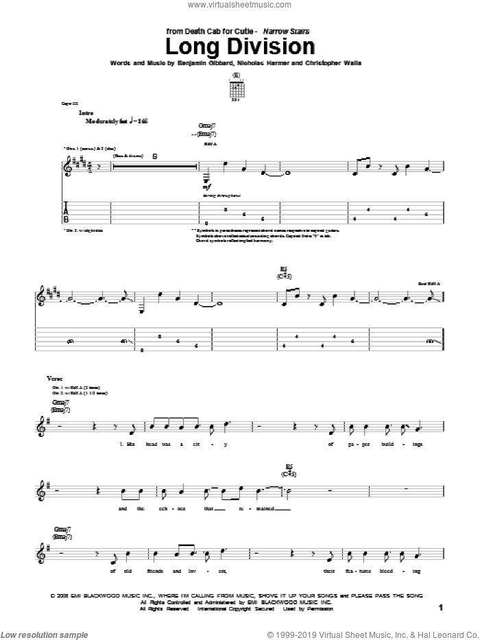 Long Division sheet music for guitar (tablature) by Death Cab For Cutie, intermediate guitar (tablature). Score Image Preview.