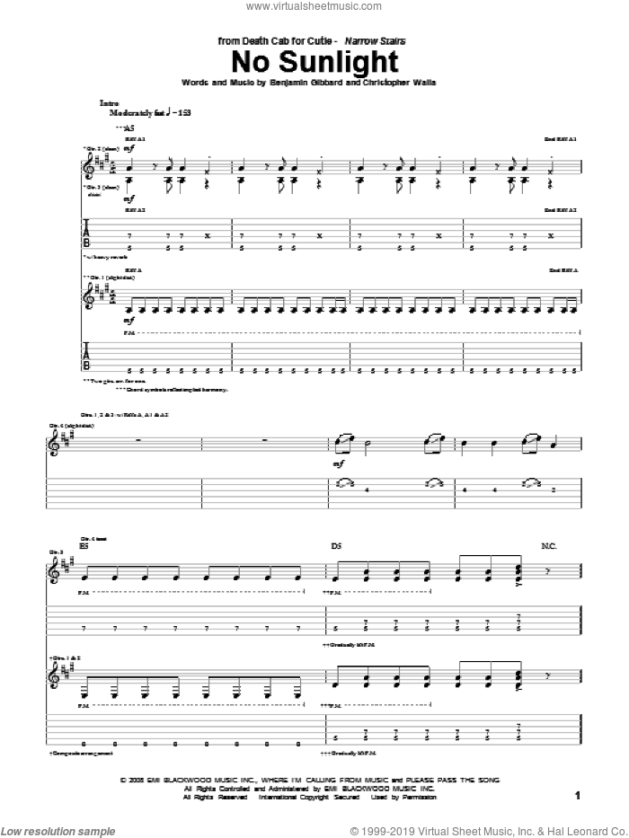 No Sunlight sheet music for guitar (tablature) by Christopher Walla