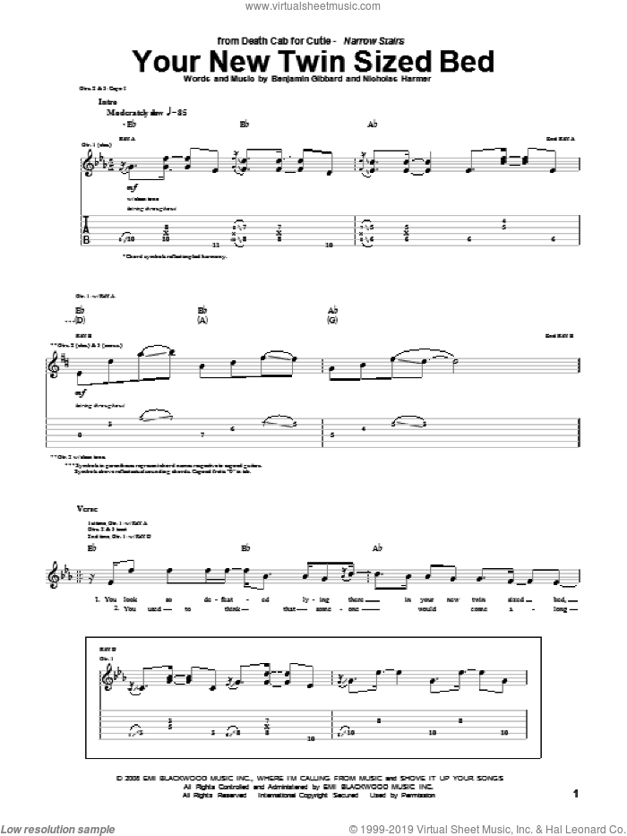 Your New Twin Sized Bed sheet music for guitar (tablature) by Death Cab For Cutie, intermediate guitar (tablature). Score Image Preview.