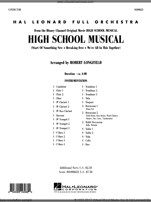 High School Musical (COMPLETE) sheet music for full orchestra by Robert Longfield
