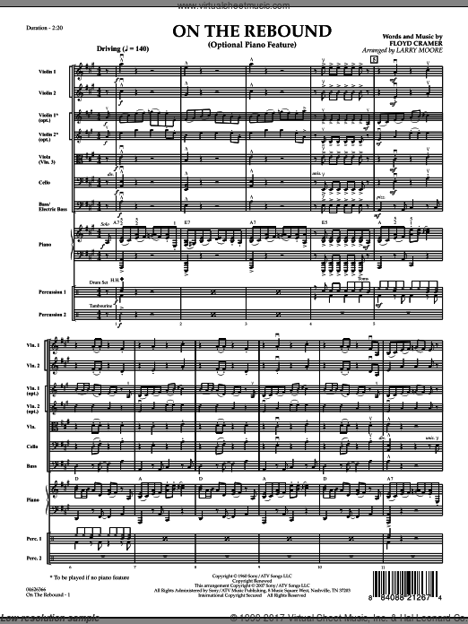 On the Rebound (COMPLETE) sheet music for orchestra by Floyd Cramer and Larry Moore, intermediate. Score Image Preview.