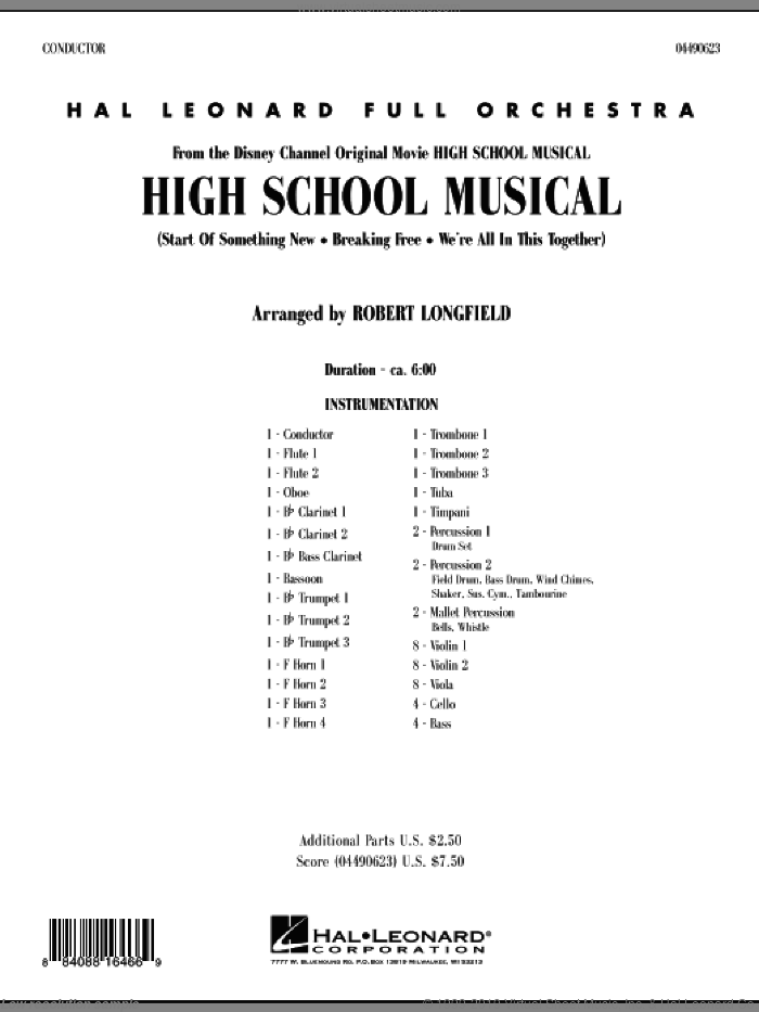 High School Musical (COMPLETE) sheet music for full orchestra by Robert Longfield, intermediate skill level
