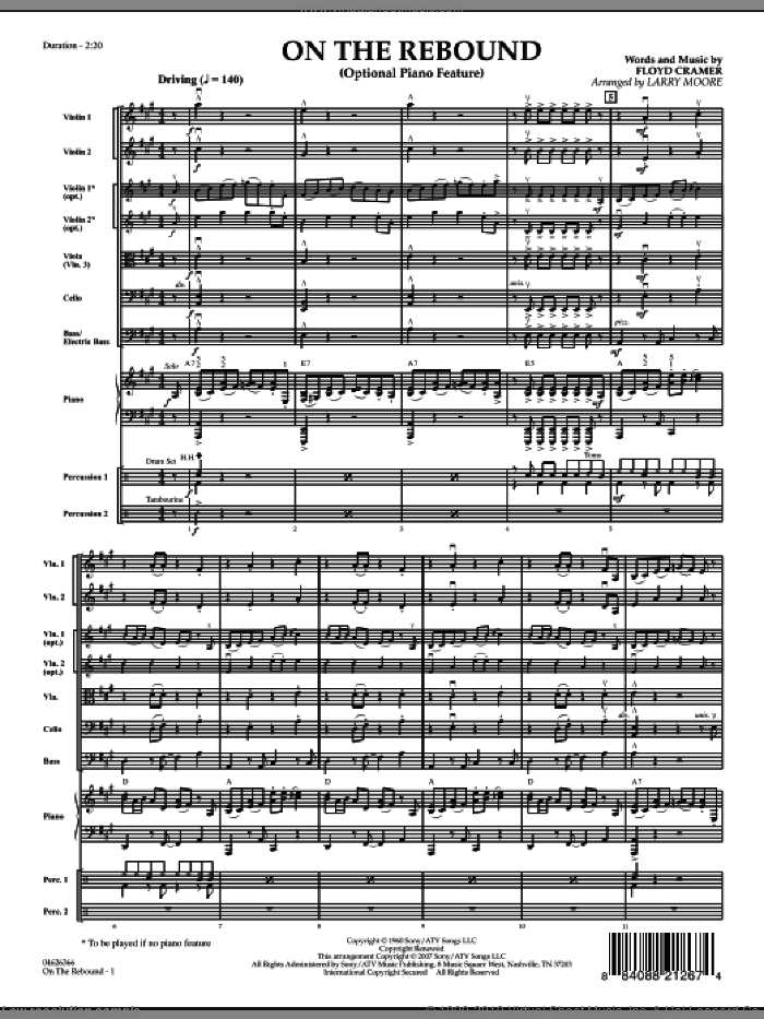On the Rebound (COMPLETE) sheet music for orchestra by Floyd Cramer and Larry Moore, intermediate orchestra. Score Image Preview.