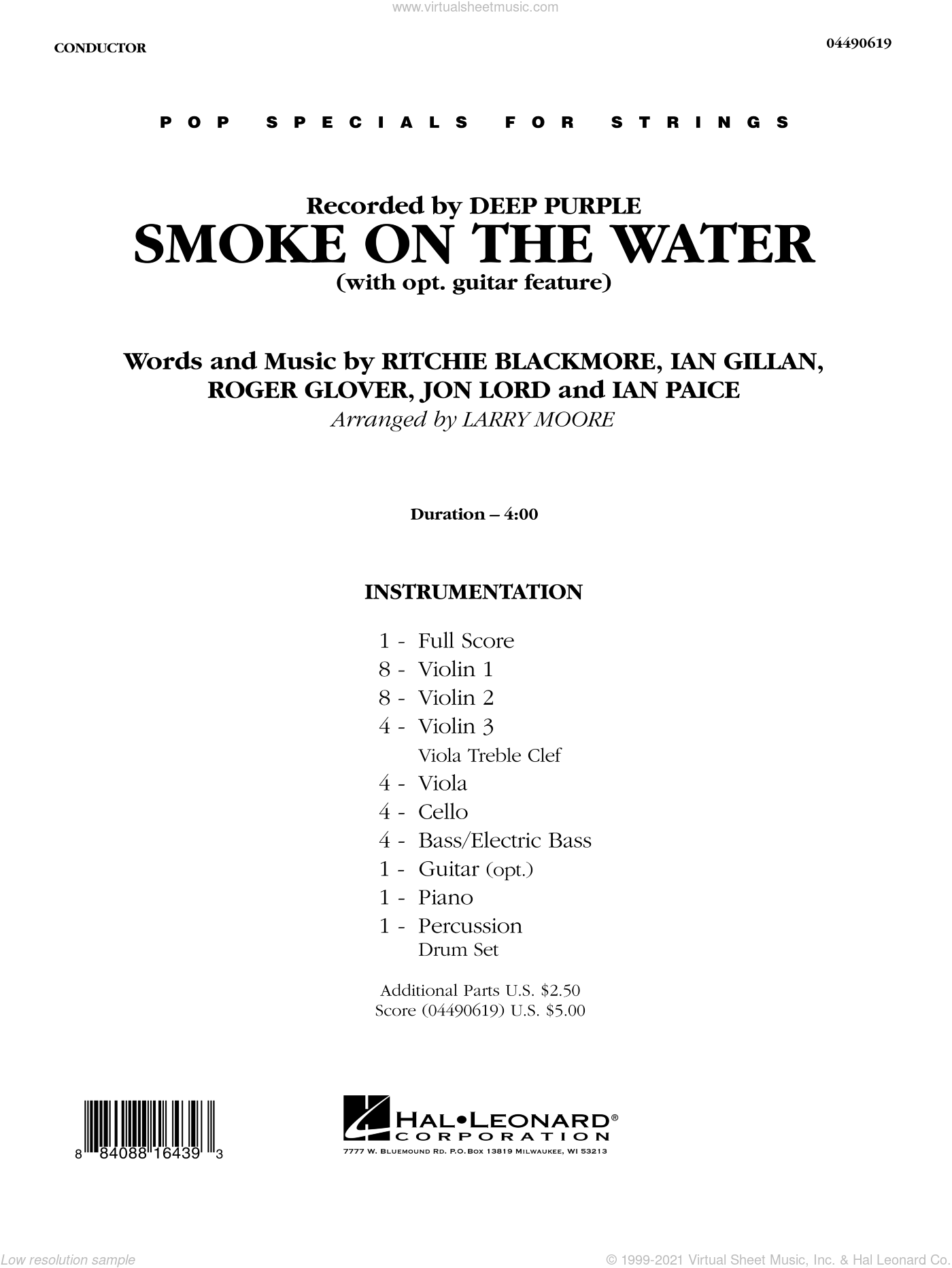 Smoke on the Water sheet music for orchestra (full score) by Larry Moore