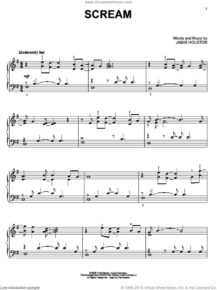 Scream sheet music for piano solo by High School Musical 3 and Jamie Houston, intermediate skill level