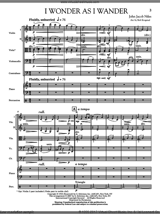 I Wonder As I Wander (COMPLETE) sheet music for orchestra by John Jacob Niles