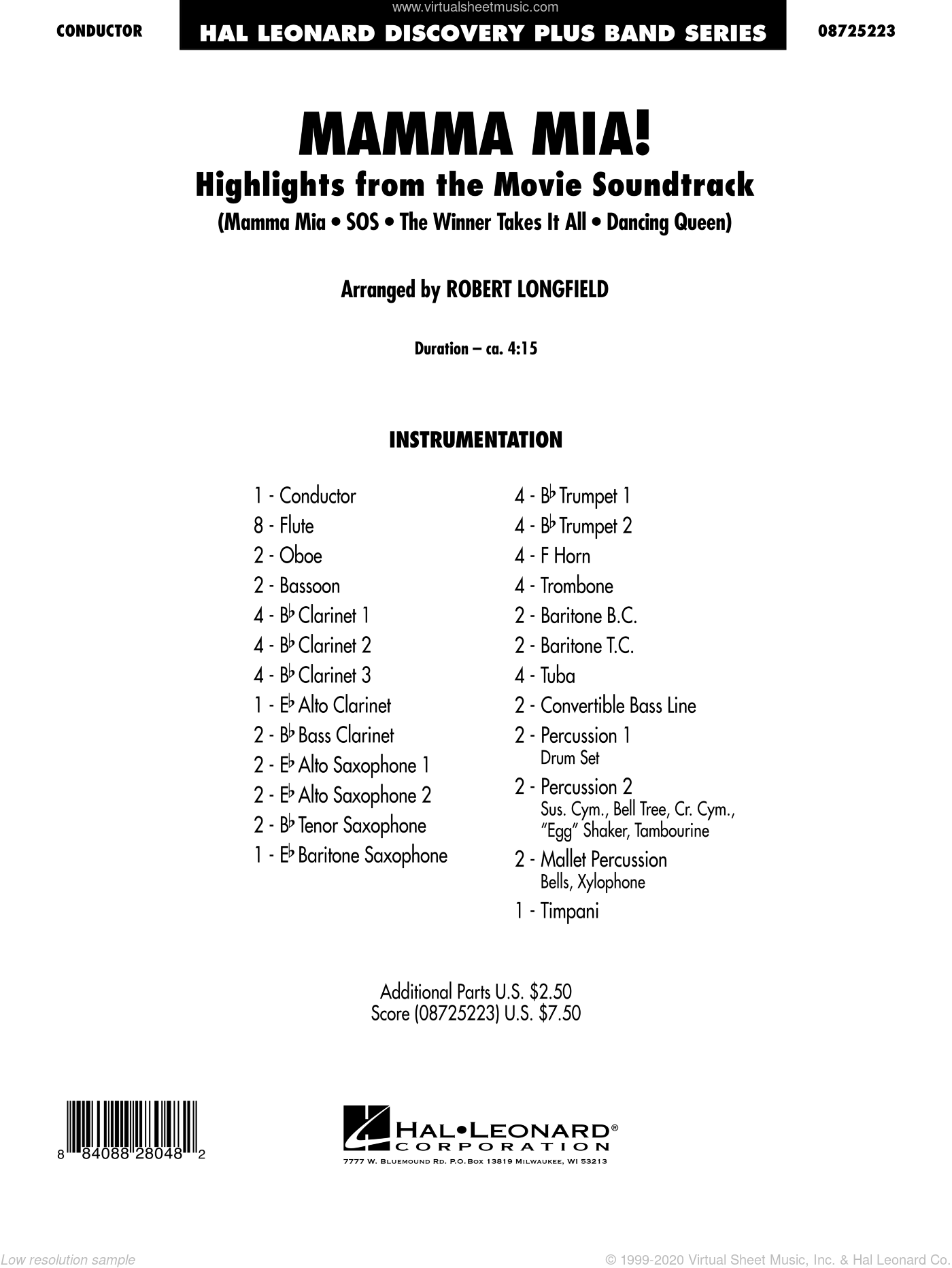 Mamma Mia!, highlights from the movie soundtrack sheet music for concert band (full score) by ABBA and Robert Longfield, intermediate skill level