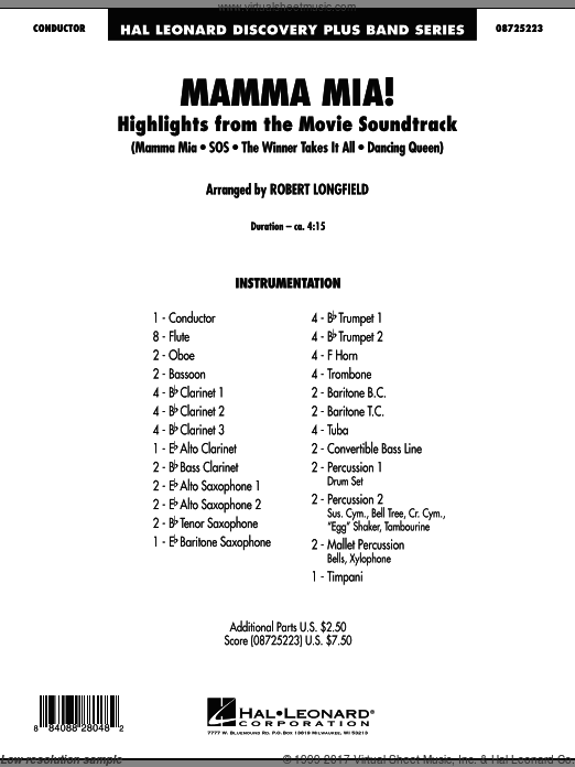 Mamma Mia!, highlights from the movie soundtrack (COMPLETE) sheet music for concert band by Robert Longfield