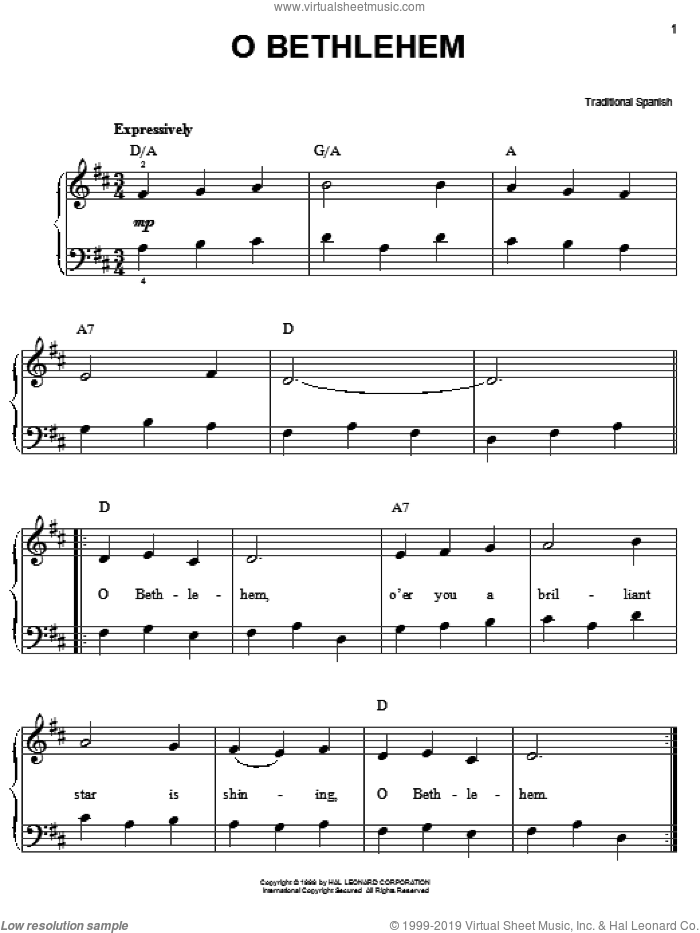 O Bethlehem sheet music for piano solo, easy. Score Image Preview.