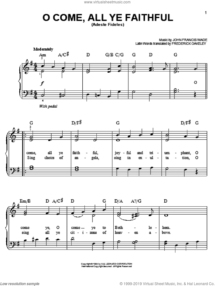 O Come, All Ye Faithful (Adeste Fideles) sheet music for piano solo by John Francis Wade and Frederick Oakeley, Christmas carol score, easy piano. Score Image Preview.