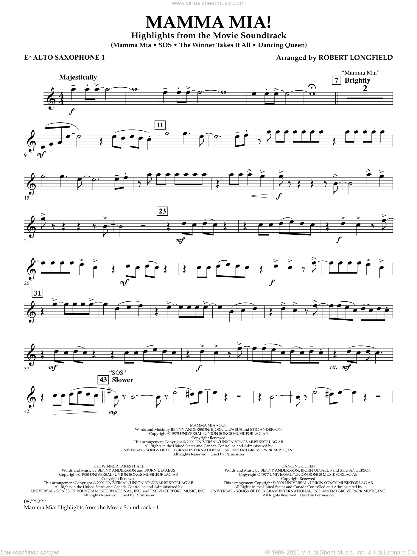 Mamma Mia!, highlights from the movie soundtrack sheet music for concert band (Eb alto saxophone 1) by ABBA and Robert Longfield, intermediate. Score Image Preview.