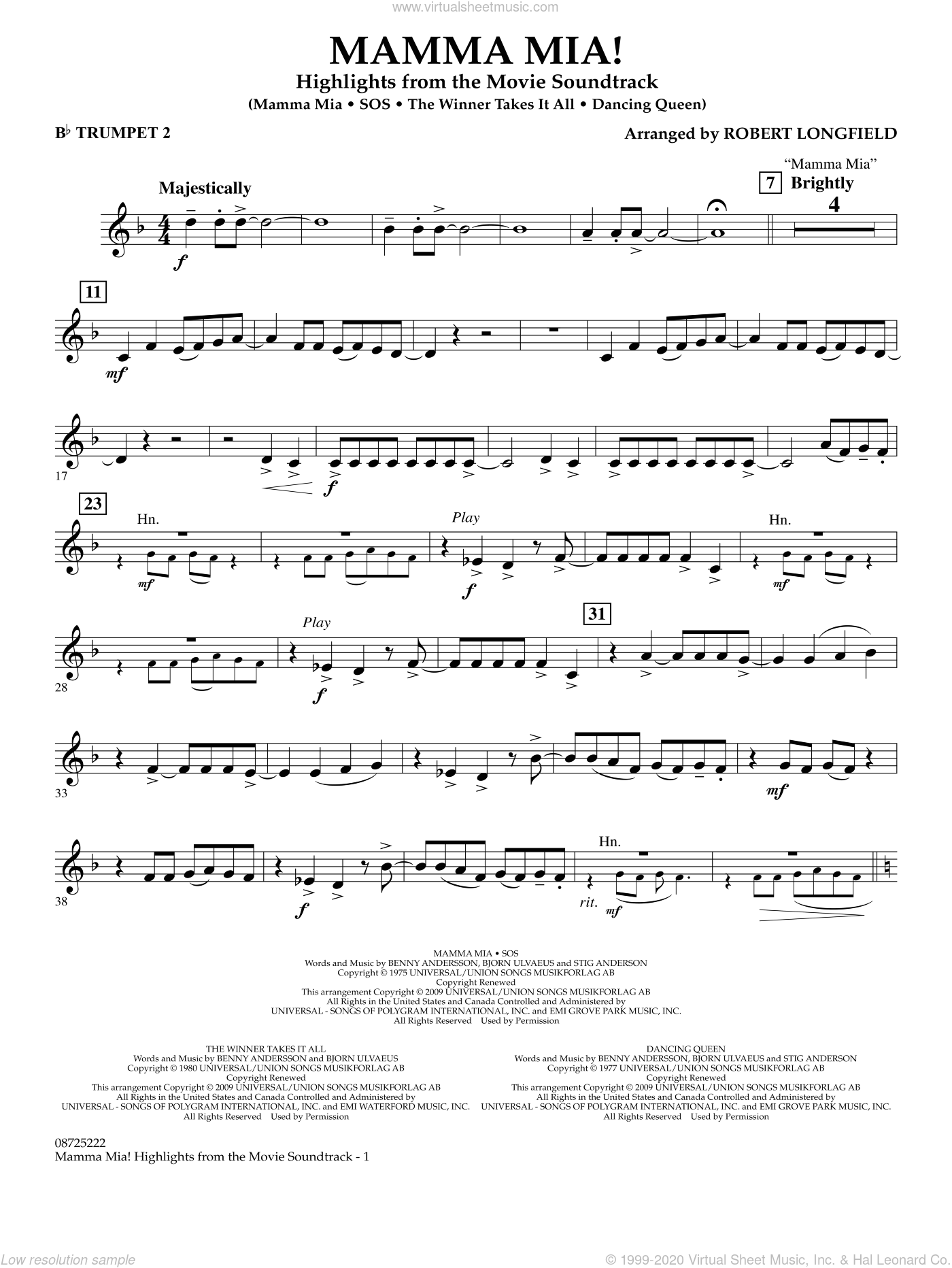 Mamma Mia!, highlights from the movie soundtrack sheet music for concert band (Bb trumpet 2) by ABBA and Robert Longfield, intermediate skill level