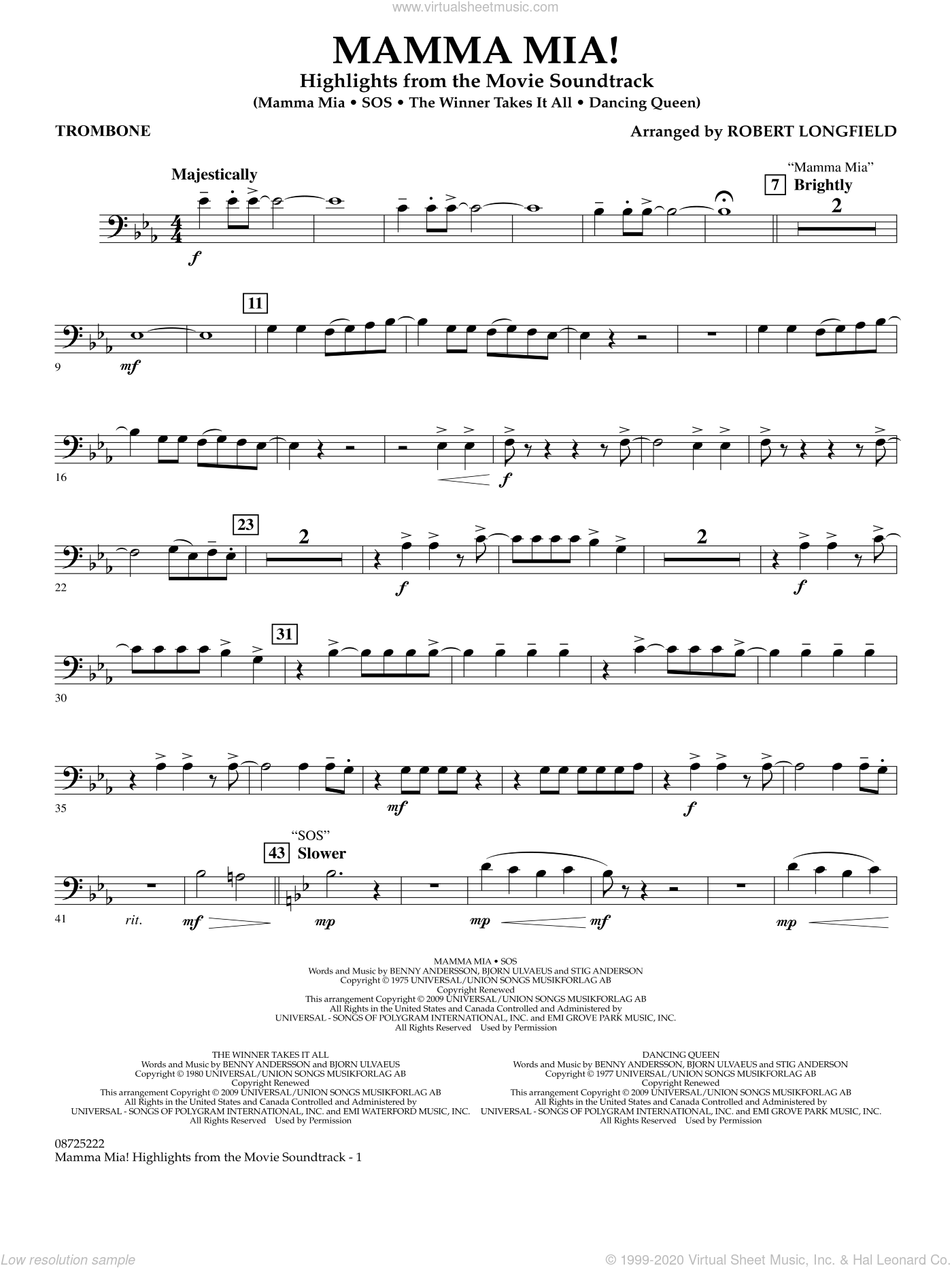 Mamma Mia!, highlights from the movie soundtrack sheet music for concert band (trombone) by ABBA and Robert Longfield, intermediate skill level