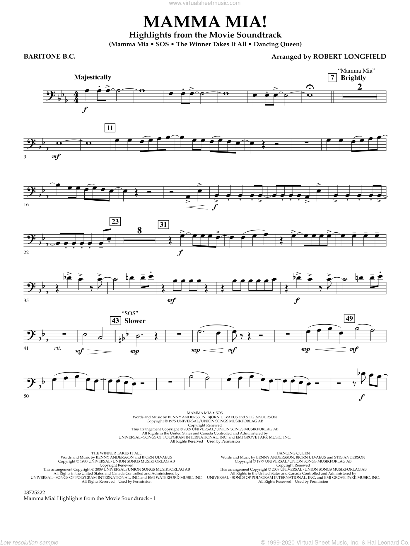 Mamma Mia!, highlights from the movie soundtrack sheet music for concert band (baritone b.c.) by ABBA and Robert Longfield, intermediate skill level