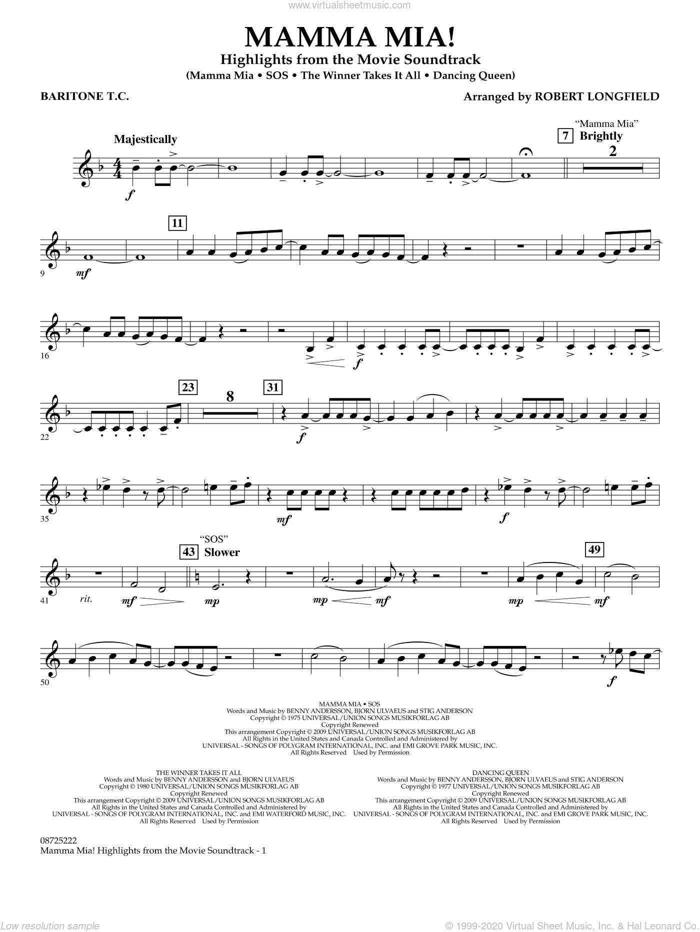 Mamma Mia!, highlights from the movie soundtrack sheet music for concert band (baritone t.c.) by ABBA and Robert Longfield, intermediate skill level