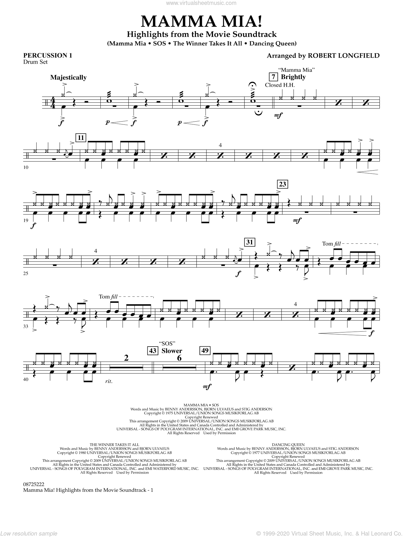 Mamma Mia!, highlights from the movie soundtrack sheet music for concert band (percussion 1) by Robert Longfield and ABBA. Score Image Preview.