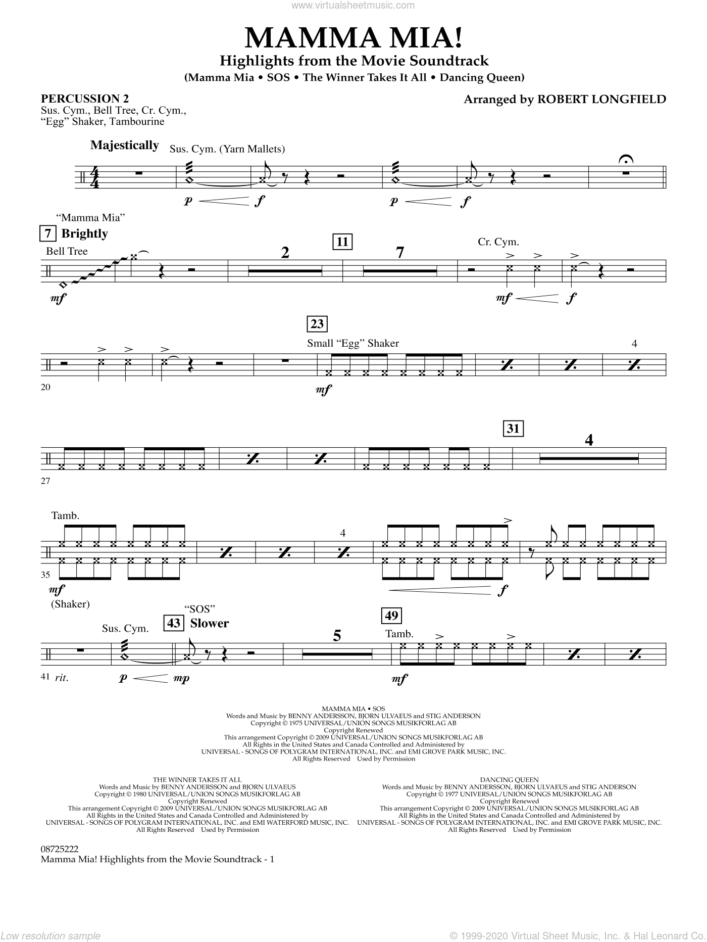 Mamma Mia!, highlights from the movie soundtrack sheet music for concert band (percussion 2) by ABBA and Robert Longfield, intermediate skill level