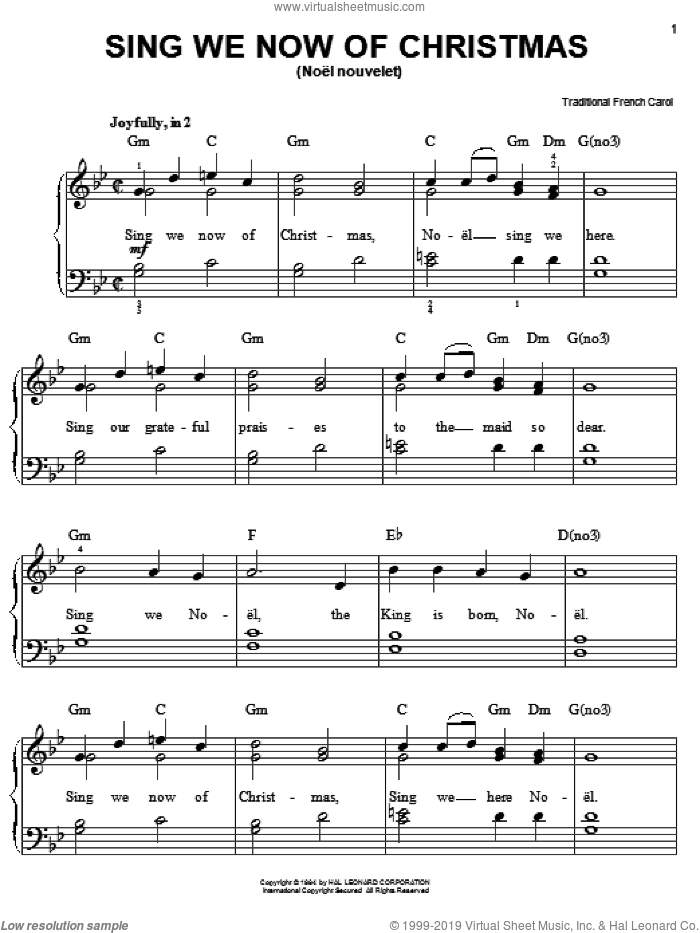 Sing We Now Of Christmas sheet music for piano solo, easy. Score Image Preview.