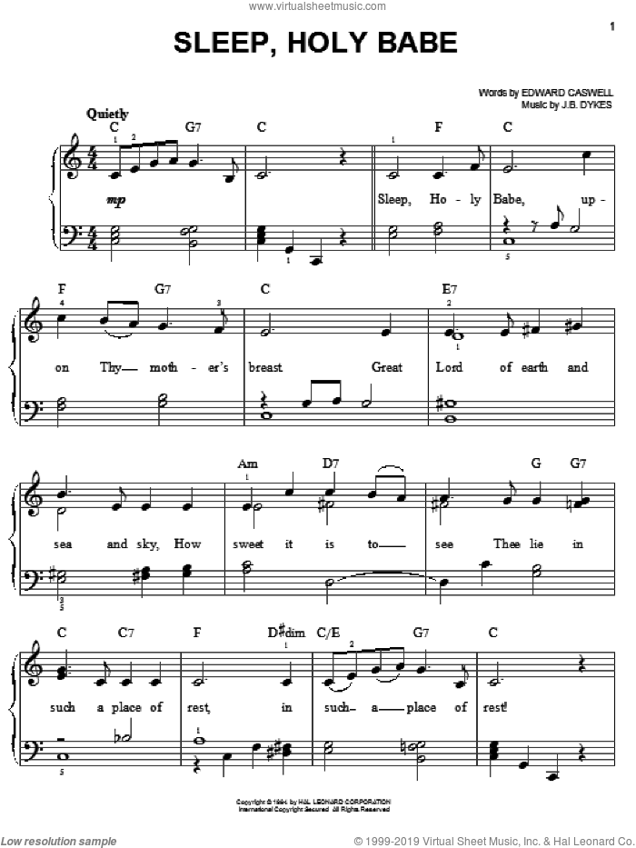 Sleep, Holy Babe sheet music for piano solo by John Bacchus Dykes and Edward Caswall, easy skill level