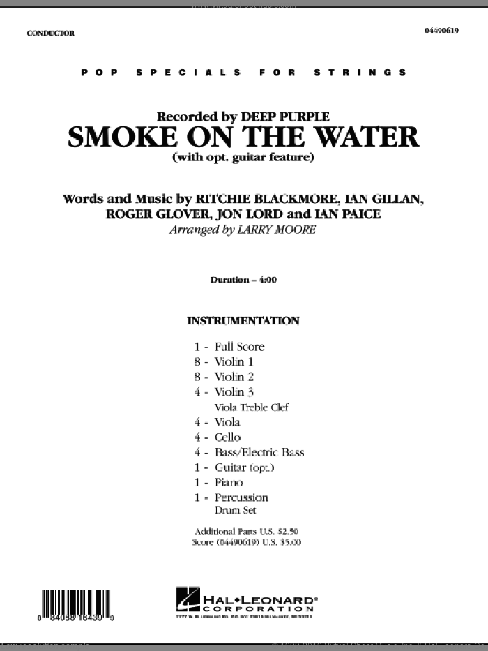 Smoke on the Water (COMPLETE) sheet music for orchestra by Larry Moore and Deep Purple, intermediate skill level