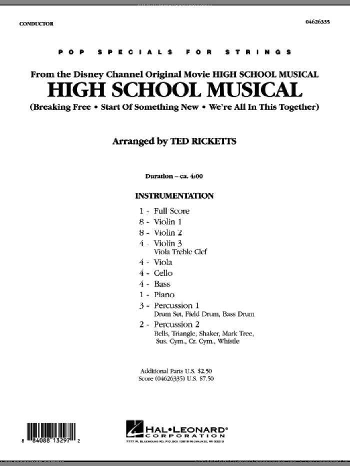 High School Musical (COMPLETE) sheet music for orchestra by Ted Ricketts, intermediate skill level