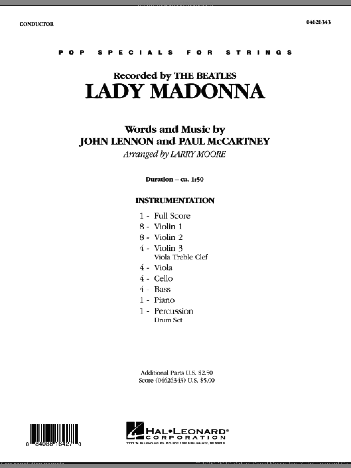 Lady Madonna (COMPLETE) sheet music for orchestra by Paul McCartney, John Lennon and Larry Moore, intermediate skill level