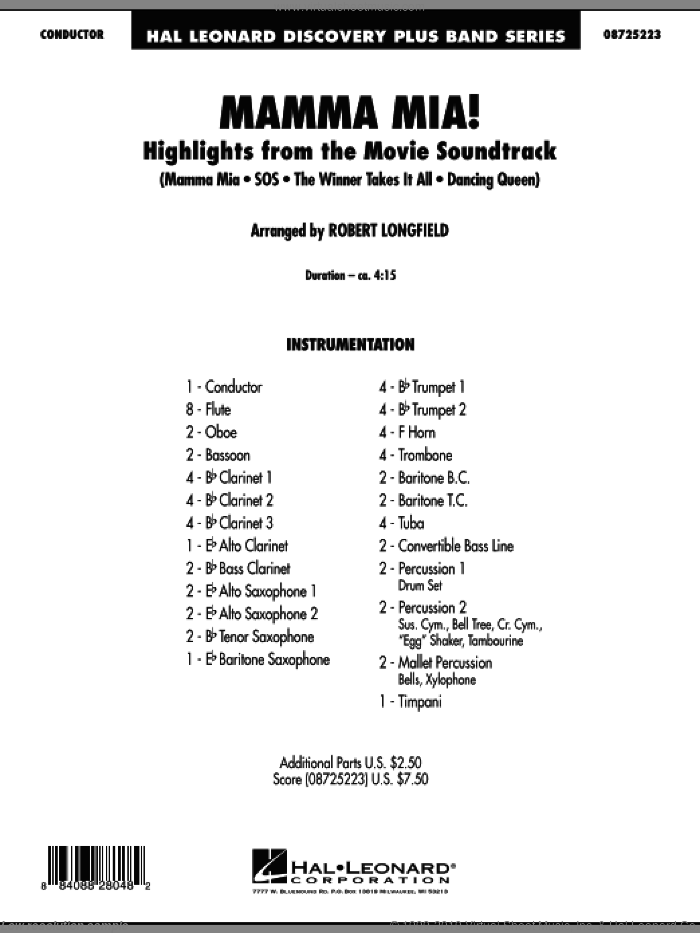 Mamma Mia! - Highlights from the Movie Soundtrack (COMPLETE) sheet music for concert band by ABBA and Robert Longfield, intermediate skill level