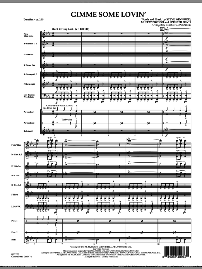Gimme Some Lovin' (COMPLETE) sheet music for concert band by Steve Winwood, Robert Longfield and The Spencer Davis Group, intermediate. Score Image Preview.
