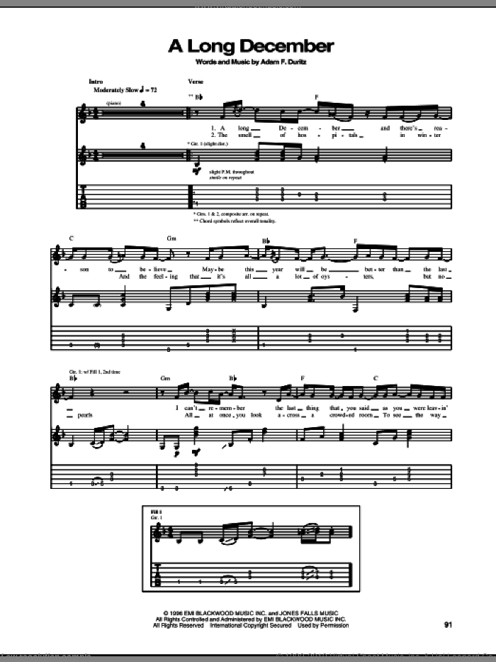 A Long December sheet music for guitar (tablature) by Counting Crows and Adam Duritz, intermediate skill level