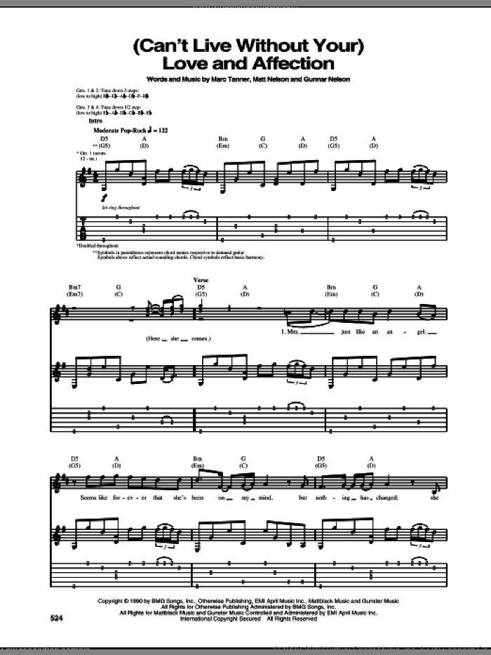 (Can't Live Without Your) Love And Affection sheet music for guitar (tablature) by Nelson, intermediate guitar (tablature). Score Image Preview.