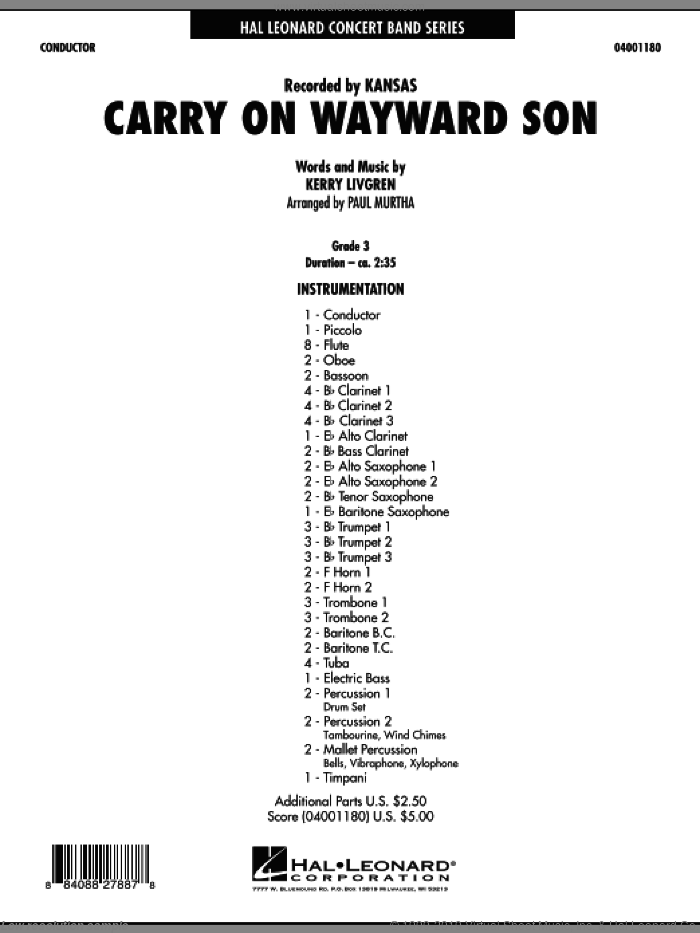 Carry On Wayward Son (COMPLETE) sheet music for concert band by Paul Murtha and Kansas, intermediate. Score Image Preview.