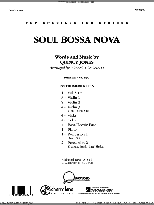 Soul Bossa Nova (COMPLETE) sheet music for orchestra by Quincy Jones