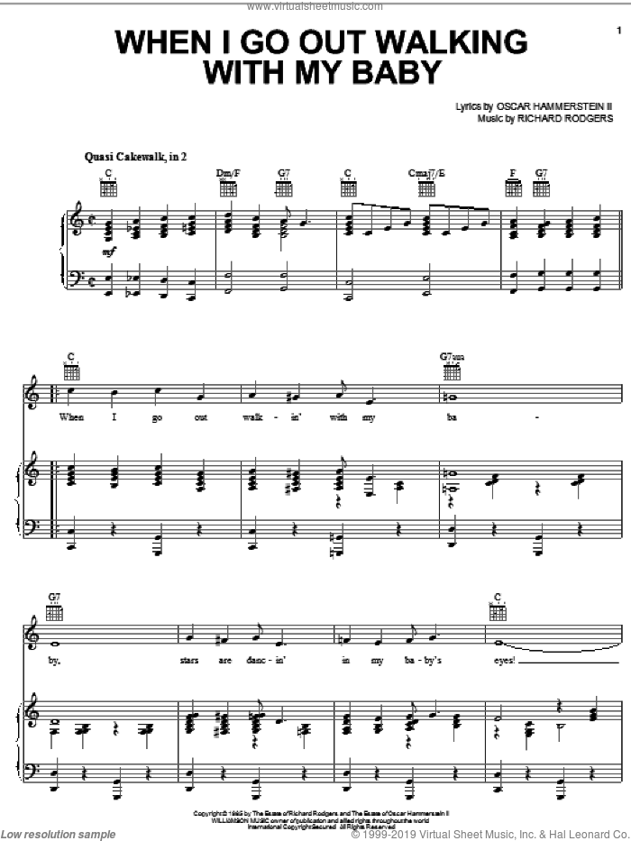 When I Go Out Walking With My Baby sheet music for voice, piano or guitar by Rodgers & Hammerstein, Oscar II Hammerstein and Richard Rodgers, intermediate voice, piano or guitar. Score Image Preview.