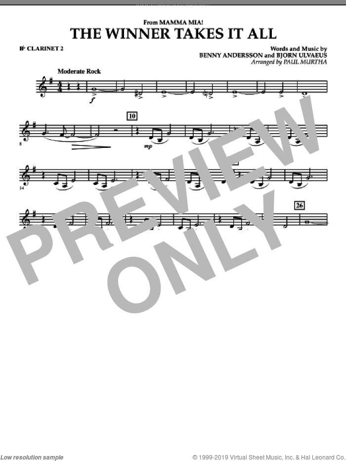 The Winner Takes It All (from 'Mamma Mia!', the motion picture sheet music for concert band (Bb clarinet 2) by Benny Andersson, Bjorn Ulvaeus, Miscellaneous, ABBA and Paul Murtha, intermediate skill level