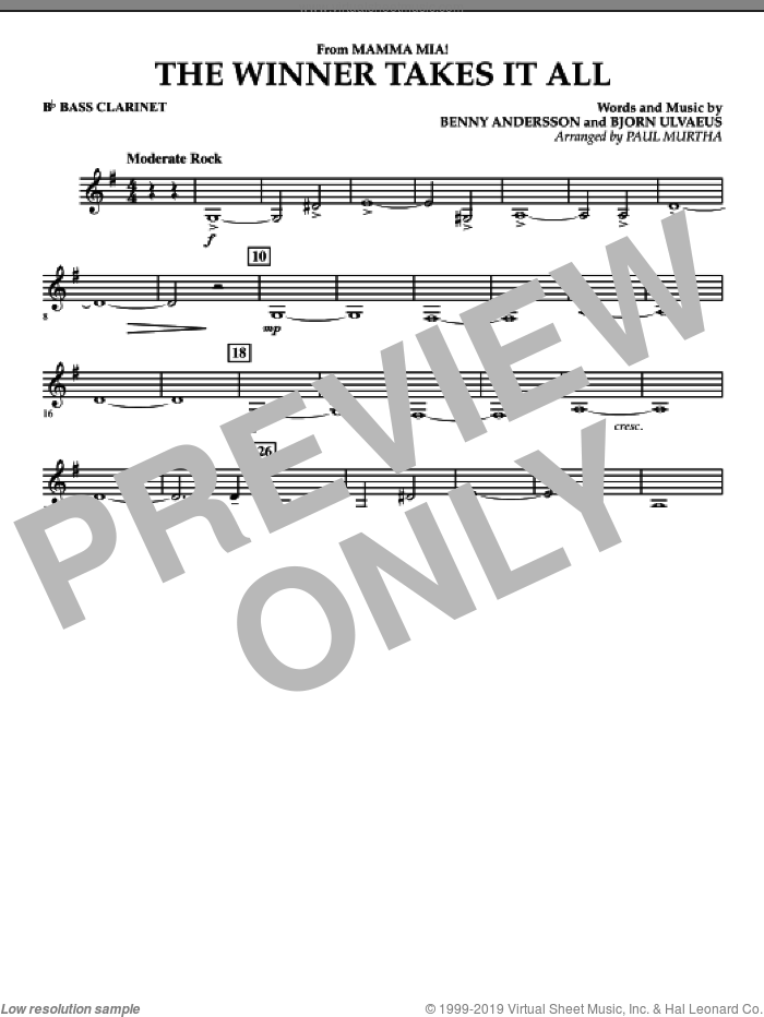 The Winner Takes It All (from 'Mamma Mia!', the motion picture sheet music for concert band (Bb bass clarinet) by Benny Andersson, Bjorn Ulvaeus, Miscellaneous, ABBA and Paul Murtha, intermediate skill level